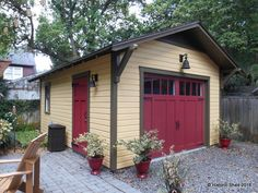 Custom 14'x20' One Car Garage - Maybe grey instead of yellow + I love the red door