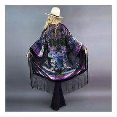 Insanely gorgeous luxe velvet fringed kimono!