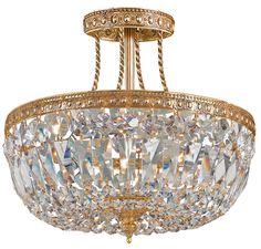 Crystorama 119-12-OB-CL-SAQ 3-Lights Swarovski Spectra Semi Flush Crystal Basket - Olde Brass