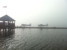 """Looking like a """"no-fly"""" day, go away fog. Flying Boat, Going Away, Planes, Base, Sky, Travel, Airplanes, Heaven, Heavens"""