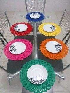 Crochet Geek, Crochet Diy, Crochet Home Decor, Crochet Crafts, Crochet Projects, Crochet Table Mat, Crochet Placemats, Crochet Doilies, Crochet Kitchen