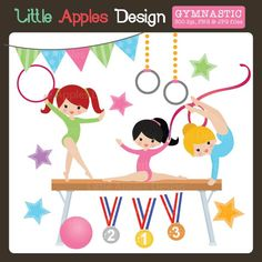 Gymnastic Clipart - these adorable gymnasts would be perfect for an invitation, web graphics, scrapbooking and more.