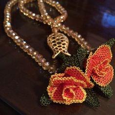 Bead Crochet, Crochet Necklace, Needle Lace, Needlework, Elsa, Opal, Bling, Pendants, Jewels