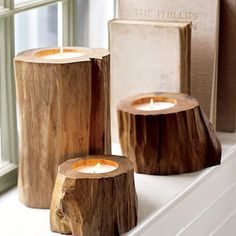 Pottery Barn Wood Candles reclaimed teak wood hollowed out with unscented candle wax Diy Candles, Tea Light Candles, Tea Lights, Ideas Candles, Wood Lights, Outdoor Candles, Beeswax Candles, Candle Wax, Recycled Christmas Tree