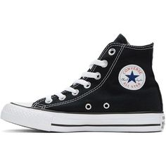 Converse Black and White Classic Chuck Taylor All Star OX High-Top... ($52) ❤ liked on Polyvore featuring shoes, sneakers, lace up sneakers, high top shoes, canvas sneakers, lace up high top sneakers and rubber shoes