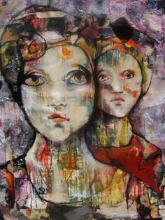 Shellie Lewis-Dambaz -wax and oil mixed media pani two sisterstng
