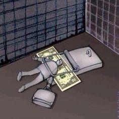 The money trap. Satire, Pictures With Deep Meaning, Art With Meaning, Meaningful Pictures, Powerful Pictures, Satirical Illustrations, Pochette Album, Deep Art, Social Art