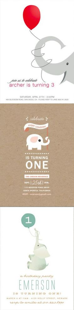 Your little one will have a ton of fun with an elephant themed birthday party celebration! Find the perfect elephant themed birthday party invitations at http://Minted.com