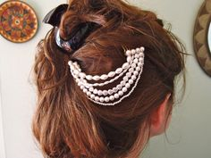 Use a variety of pearl shapes to make this multi-strand hair piece really pop.