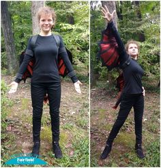DIY Metallic OlyFun Dragon Wings Costume. Easy sew dragon tail and dragon wings