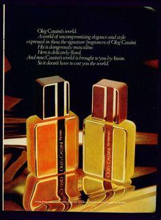 Oleo Cassini fragrances for men and women, 1978 (I remember the women's. Nice)