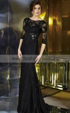 Half-Sleeves Zipper Bateau Floor-length Lace Evening Dresses eraa1045--Hodress