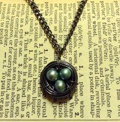 HANDMADE Dark Silver Bird's Nest Necklace with Aqua Pearl Eggs ($15)