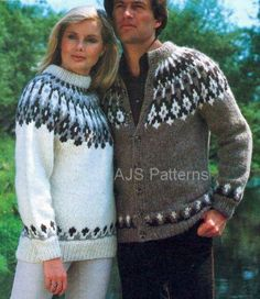 PDF Knitting Pattern for a Unisex Fair Isle Fair Isle Sweater and Cardigan in Lopi Wool Jumper Knitting Pattern, Fair Isle Knitting Patterns, Fair Isle Pattern, Cardigan Pattern, Sweater Cardigan, Tejido Fair Isle, Icelandic Sweaters, Fair Isles, Sweater Fashion