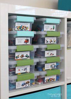 Get your Lego kits organized and labeled with this simple organizing project! Never loose a manual or piece again! Check Lego storage organzier - launching soon on Kickstarter .also check out the Lego storage organizer - launching soon on Kickstarter Lego Storage, Kids Storage, Storage Ideas, Storage Solutions, Living Room Toy Storage, Baby Storage, Storage Shelves, Legos, Lego Kits