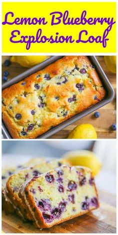 This Lemon Blueberry Explosion Loaf  is actually a home-made Copycat Starbuck's Lemon Loaf except this lemony loaf has an explosion of robust blueberries inside that will absolutely tantalize your taste buds! Loaf Recipes, Lemon Recipes, Gourmet Recipes, Baking Recipes, Dessert Recipes, Coffee Recipes, Lemon Blueberry Loaf, Blueberry Recipes, Blueberry Bread Recipe