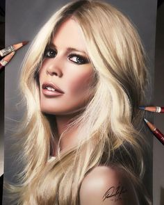 Claudia Schiffer drawing by Donald Bross