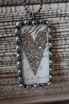 German Glass Glitter Heart Necklace by rochellemybelle on Etsy, $50.00