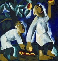 Natalia Goncharova (1881 - 1962). Farmers pick apples. 1911. Oil on canvas. 104 x 97 cm. The State Tretyakov Gallery, Moscow