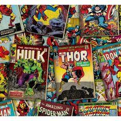 Marvel Avengers Retro Comic Books Tossed 100% Cotton Patchwork Fabric