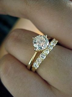 THIS! Perfect Southern Charm.  Exactly what I'm looking for with gold bands and simple engagement ring with small diamond covered wedding band