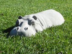 Hippo Garden Ornament Hippopotamus Sculpture 17 Long by martsart, £28.65