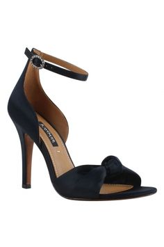 Black leather ankle strap stiletto sandal with satin & rhinestone buckle, prom shoes, black heels, women's fashion shoes, black stilettos, memory foam heels