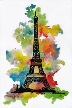 Watercolor eiffel tower by jointshadow on deviantart Eiffel Tower Painting, Eiffel Tower Art, Eiffel Tower Drawing Easy, Mandala Art Lesson, Mandala Drawing, Torre Eiffel Paris, Watercolor Mandala, Watercolour, Watercolor Art Lessons