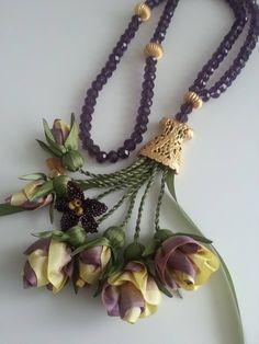 Soutache Jewelry, Beaded Necklace, Necklaces, Pendant Necklace, Bracelets, Making Fabric Flowers, Swans, Beaded Flowers, Shibori