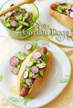 "Summer Garden Dogs _ Today is ""Dog Days of Summer"" Friday and I've got fresh zesty Garden Dogs to help use up your summer bounty. This hot dog recipe is smeared with cream cheese and topped with crisp cool garden veggies and herbs. These just might be the best hot dogs I've made so far this season."