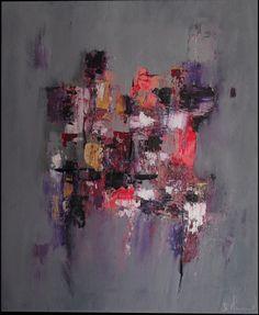 Peinture acrylique moderne multicolore gris rose violet - Peinture gris violet ...