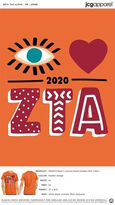 Zeta Tau Alpha PR Shirt | Sorority PR Shirt | Greek PR Shirt #zetataualpha #zeta #zta #PR #Shirt #eye #heart #zta Sorority Pr, Sorority Canvas, Sorority And Fraternity, Zeta Tau Alpha, Custom Design Shirts, Screen Printing, Colorful Shirts, Greek, Graphics
