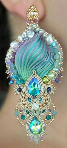 """""""REGINA"""" Earrings - Designed by Serena Di Mercione - Beadembroidery and Soutache - Shibori silk, Swarovski and pearls. Ribbon Jewelry, Soutache Jewelry, Jewelry Crafts, Beaded Jewelry, Handmade Jewelry, Handmade Necklaces, Jewellery, Shibori, Big Earrings"""
