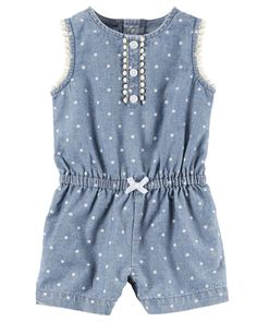 Baby Girl Chambray Polka Dot Romper from Carters.com. Shop clothing & accessories from a trusted name in kids, toddlers, and baby clothes.