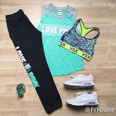 Today's #FITOutfit is by @neat_ka  @victoriasport the player racerback sports bra @vspink love pink tank & sweatpants @nikerunning air max shoes  #perfume  Tag @FITOutfit or use hashtag #FITOutfit to be featured.  Apparel only!!! Leave comments ➡️ Like us ➡️ Tag us!!! #flatlay #flatlayapp #flatlays