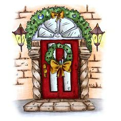 Front Door Wreath Digi Stamp in Digital images