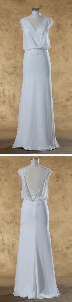 """Isabel de Mestre - New York Kollektion 2017: Fließendes Brautkleid """"Alesia"""" mit Schlüsselloch-Rückenausschnitt."""
