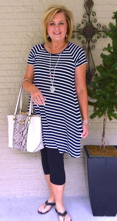 50 IS NOT OLD | NAVY AND BLACK | Stripes | Swing Dress | Tunic or Dress | Fashion over 40 for the everyday woman