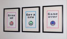 Super Mario Bros. - mushrooms - Grow up, Get a life, Game over