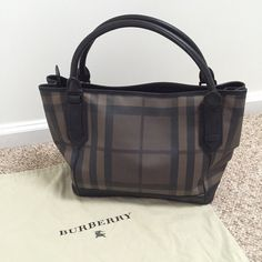 "Smoke Checked Burberry Tote Bag AUTHENTIC ✨LIKE NEW CONDITION✨ Rarely used. Discontinued style. Comes with original dust bag. Bottom measures 13""x6"". Length of top 16"". Strap drop 6"". Burberry Bags Totes"