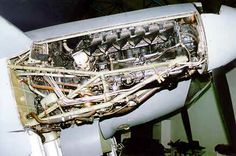 The de Havilland Mosquito starboard engine panels have been removed, exposing all internal structure from the spinner to the firewall. The engine, as stated before, is a Merlin mounted on a welded steel frame. De Havilland Mosquito, Steel Frame, Wwii, Planes, Aviation, Aircraft, Engineering, Airplanes, World War Ii