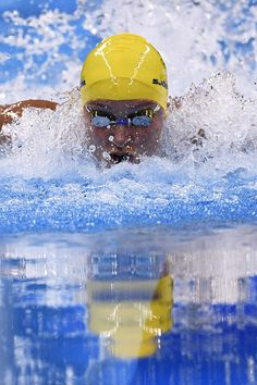 Sweden's Sarah Sjostrom competes to break the World Record in the Women's 100m Butterfly Final.