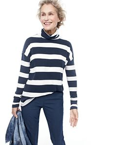J.Crew women's oversized striped turtleneck, Martie pant and denim jacket in Tyler wash.