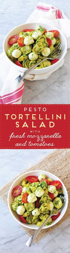 Love this for the warmer months! // Pesto Tortellini Salad with Fresh Mozzarella & Grape Tomatoes
