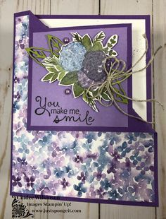 Fancy Fold Cards, Folded Cards, Handmade Birthday Cards, Greeting Cards Handmade, Card Making Inspiration, Making Ideas, Hydrangea Bloom, Embossed Cards, Stamping Up Cards