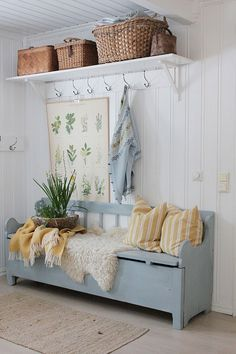 Just adore this space that has been fitted out to create a functional mudroom area. That bench-seat is a must for every ! Hallway Bench, Vibeke Design, Foyer Decorating, Cottage Style, Swedish Cottage, Mudroom, Farmhouse Decor, Sweet Home, New Homes