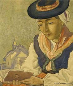 Woman wearing a hat reading Reading and Art: Charles-Clos Olsommer
