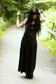 Black Long Dress and black boots...Maybe it'll work. <3