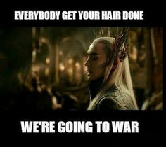 """Everyone get your hair done. We're going to war."" Thranduil - The Hobbit"