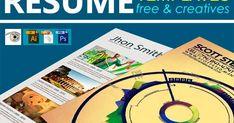 25 Plantillas Gratis de Currículums Vitae Creativos | 25 Free and Creative Resume Templates Photoshop, Resume Template Free, Chart, Blog, Creative, Tutorials, Creativity, Plants, Creative Resume